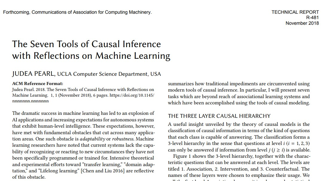 The Seven Tools of Causal Inference with Reflections on Machine Learning